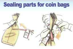 Sealing parts for coin bags